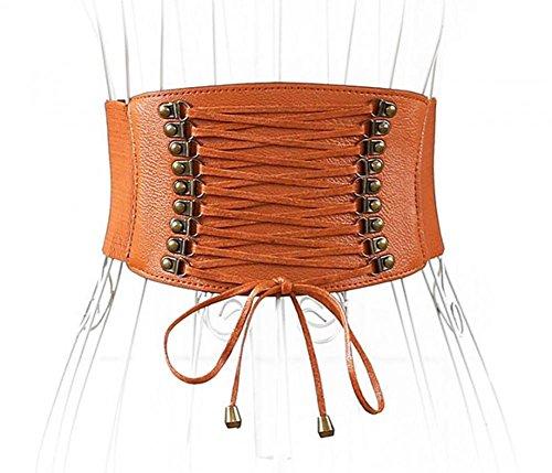 Womens PU Leather Belt High Waist Cincher Belt Corsets for Waist Training Wide Belt (Waist Corset Belt High)
