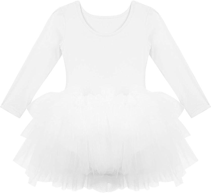 iiniim Maillot de Ballet Niña Tutú Vestido de Danza Mangas Largas ...