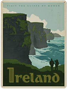 Vintage Metal Sign for Home Office Man Cave Bar Wall Decor Cliffs of Moher Ireland Aluminum Metal Signs for Outdoor Decor 8
