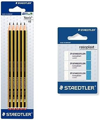 Staedtler - Pack lapiz Noris HB (5 unidades) + 3 gomas de borrar ...