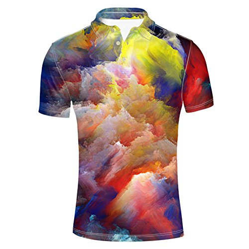 HUGS IDEA Men's Jersey Polos Shirts Psychedelic Colors Galaxy T-Shirt Fashion Button Down Short Sleeve