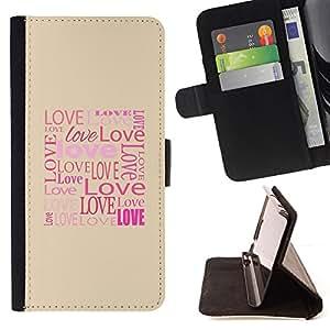 BullDog Case - FOR/LG OPTIMUS L90 / - / Love Typography Calligraphy Message /- Monedero de cuero de la PU Llevar cubierta de la caja con el ID Credit Card Slots Flip funda de cuer