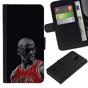 Bull Chicago Baloncesto - la tarjeta de Crédito Slots PU Funda de cuero Monedero caso cubierta de piel Para Samsung Galaxy S5 Mini (Not S5), SM-G800