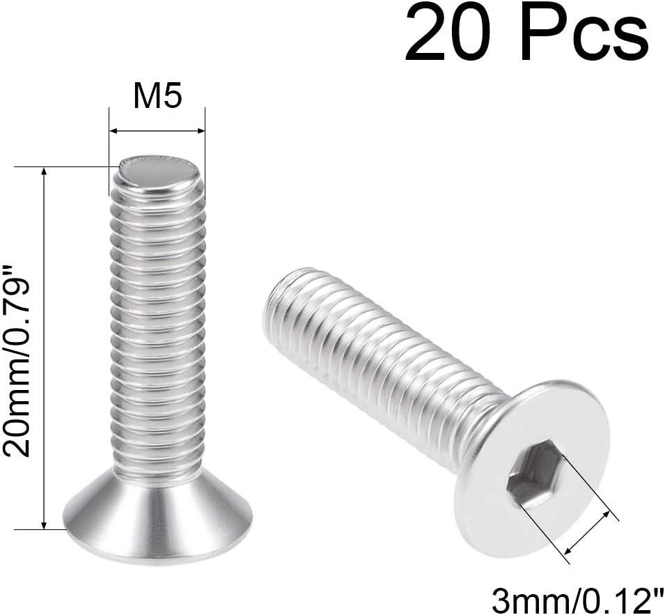 uxcell M5x20mm Flat Head Machine Screws Inner Hex Screw 304 Stainless Steel Fasteners Bolts 20Pcs