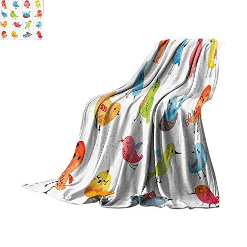 """Custom homelife Throw Blanket Animal,Colorful Cute Birds Watercolor Effect Humor Funny Mascots Paint Brush Art Kids Design,Multi Plush Throw Blanket Bed or Couch 70""""x60"""""""