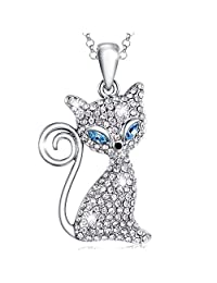 MARENJA Crystal-Women's Necklace with Blue Eyed Chic Cat Pendant White Gold Plated Clear Austrian Crystal 15.7''+2''/40+5cm