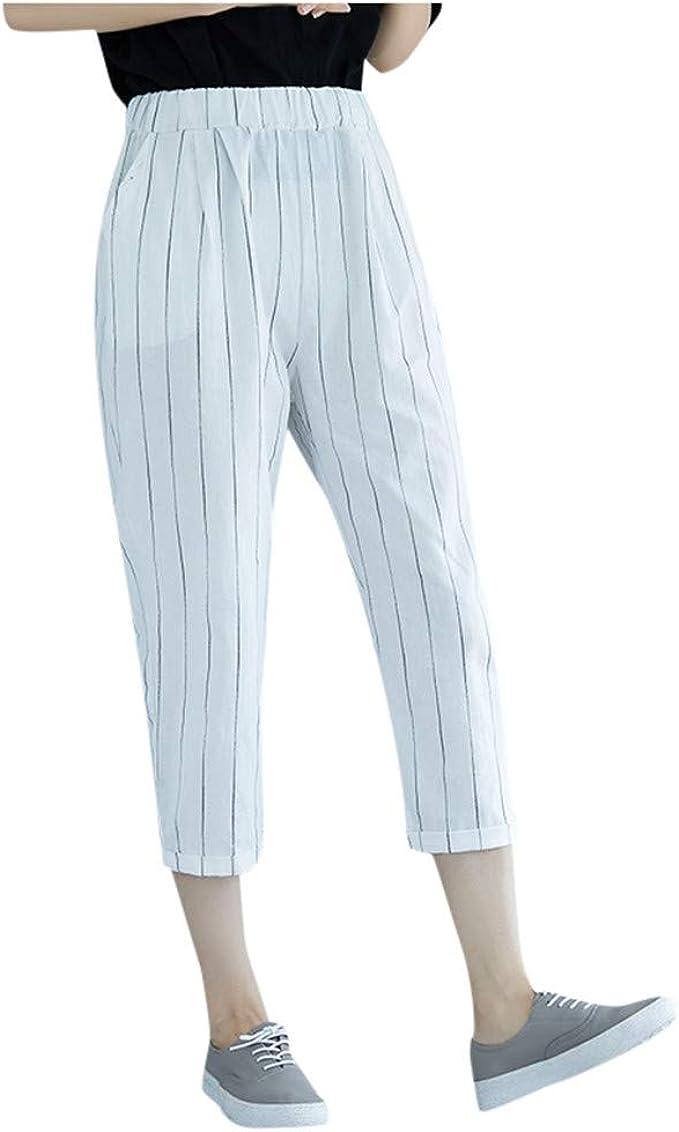 Pantaloni Moda Donna Pantaloni Casual Gamba Dritta a Righe