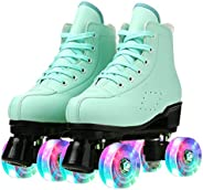 PU Leather Skate Shoes Breathable Solid Pair High-top Roller Skates Four-Wheel Roller Skates Double Row Shiny
