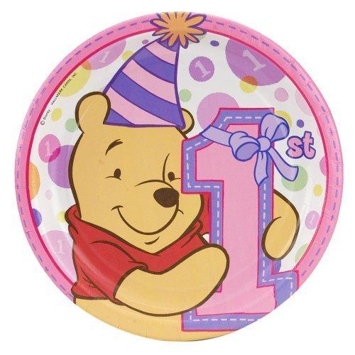 Pooh's 1st Birthday Girl Dessert Plates 8ct ()