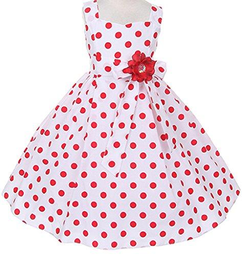 Big Girls' Retro Polka Dot Floral Embellishment Flowers Girls Dresses Red Size 8