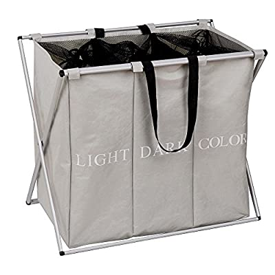 "Any-door Laundry Hamper Basket 3 Sections with Foldable Alloy Frame, L24.8 x W14.96 x H22.44, Dirty Clothes Bag Storage - ★ REMOVABLE: Removable velcro straps, you can remove the storage bag at any time and fold it when you don't need it, save space for you. ★ DURABLE: Durable aluminum alloy X-shaped frame, Not easily deformed but lightweight, with handbag and aluminium handle. Make it easy for you to move wherever you want. ★ Large capacity: 3 sections, Can be categorized into different clothes, can distinguish dark, light and color clothes. L24.8""x W14.96"" x H22.44"" - laundry-room, hampers-baskets, entryway-laundry-room - 516krTHS8YL. SS400  -"