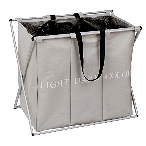 Olilio 3 Sections Laundry Hamper Basket with Aluminum Frame L24.8 x W14.96 x H22.44 Folding Durable Dirty Clothes Bag for Bathroom Bedroom Home, (Three Part Divided)