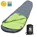 sleeping bag - BOS Portable Mummy Sleeping Bag- Ultralight Waterproof Camping Sleeping Bag with Compression Sack for 4 Season Traveling and Outdoor Activities-Large Sleeping Bag for Adults up 7'2 -Grey&Right-Zip