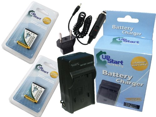 2x Pack - Casio Exilim EX-ZS5SR Battery + Charger with Car & EU Adapters - Replacement for Casio NP-80, NP-82 Digital Camera Battery and Charger (800mAh, 3.7V, Lithium-Ion)
