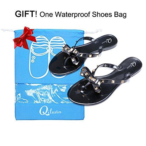 42a4c0c5d on sale Qilunn Womens Rivets Bowtie Flip Flops Jelly Thong Sandal Rubber  Flat Summer Beach Rain