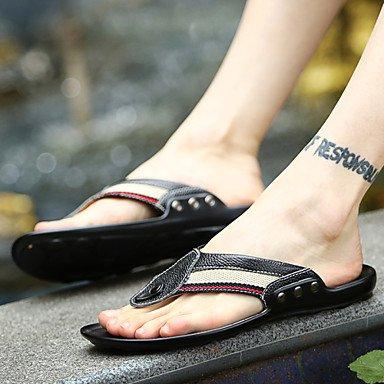 Sandalias de verano zapatos de hombre casual Flip-Flops Cuero negro / azul Blue