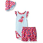 Gerber Baby Three-Piece Bodysuit, Bloomer and Tulip Hat Set, Flamingo, 0-3 Months