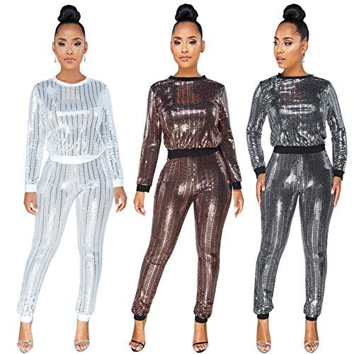 fa102b937ba9 Famnbro Women's Sequin Round Neck Pullover Sweatshirts Bodycon Pants Set 2  Piece Tracksuits