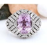 Siam panva Women Charming 925 Silver Pink Kunzite Gemstone Wedding Ring Jewelry Size 6-10 (7)