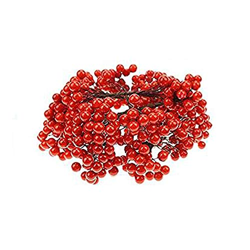 Sallyfashion Artificial Holly Christmas Berries on Wire, Great for DIY Garland and Holiday Ornaments, 200 Counts