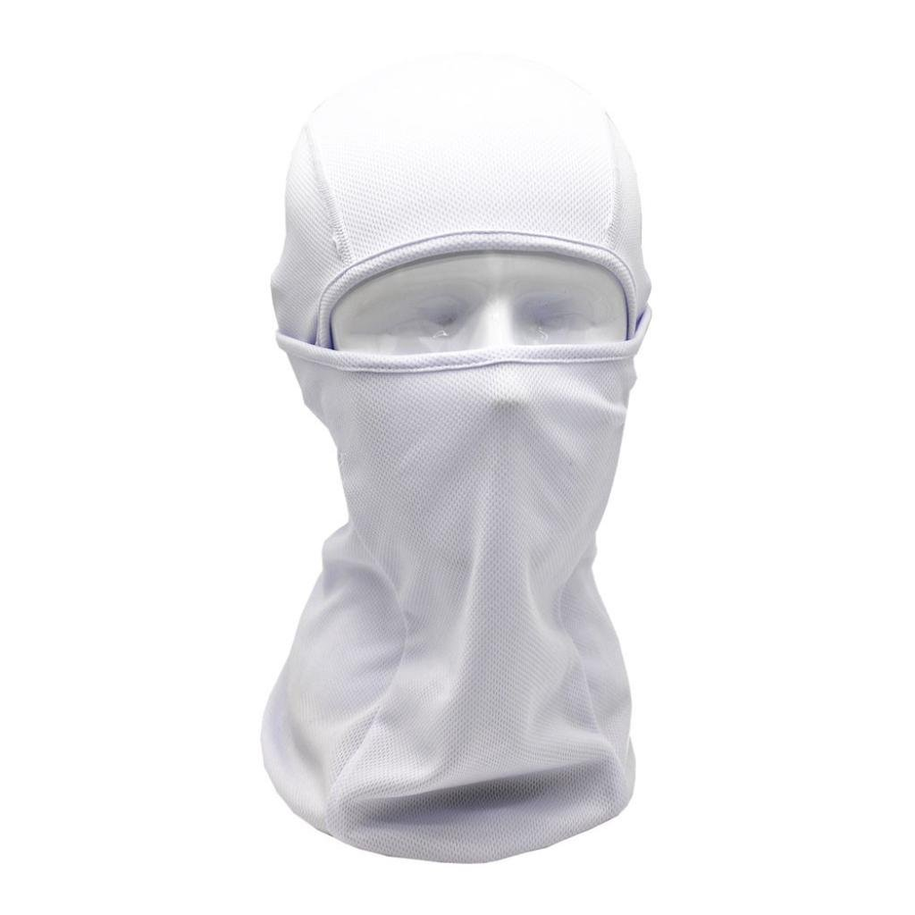 Shybuy Solid Balaclava Hood Outdoor Cycling Motorcycle Hunting Military Tactical Helmet Liner Gear Full Face Mask (White)