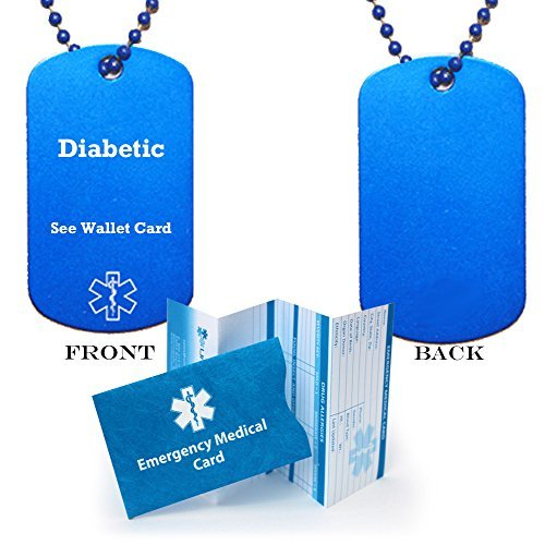 Close Out Special! Save 40%! Pre-engraved Blue Diabetic See Wallet Card Medical Alert Identification Dog Tag (incl. 24 blue ball chain). by Universal Medical Data