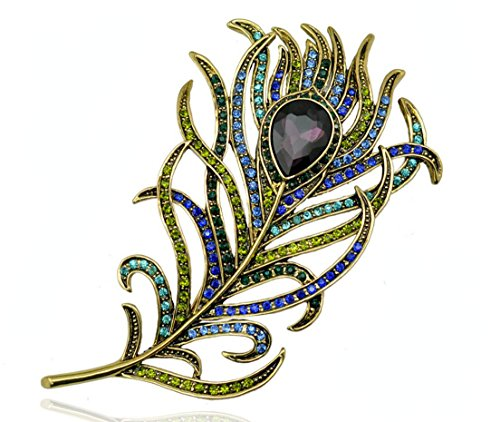 - QTMY Extra Large Rhinestone Feather leaves Broach Brooch Pin for Women Girls Fashion Jewelry Gift