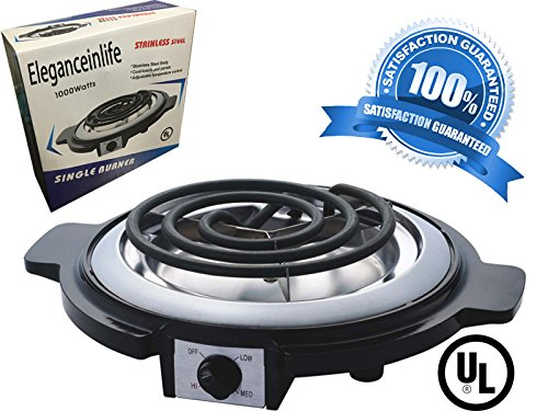 Eleganceinlife Single Burner Electric Hot Plate Black Single Counter Burner 1000 Watt Stainless Steel Body UL Approved (Counter Plate)