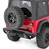 oEdRo Rear Bumper - Compatible for 87-06 Jeep Wrangler TJ & YJ - Rock Crawler Bumper with Hitch Receiver - 2X LED Lights Off Road Textured Black Bumper