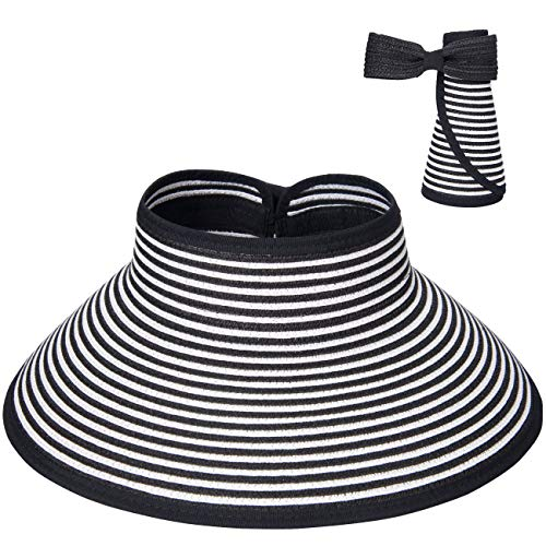 Maylisacc Wide Brim Straw Hat, Topless Sun Visor Hats for Women Straw Made Vicera Mujer Blackstripe ()