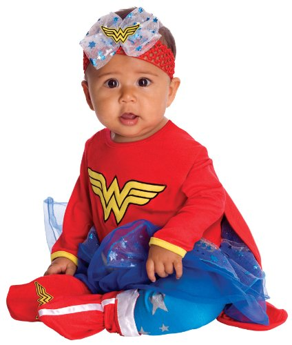 DC Comics Baby Wonder Woman Onesie And Headpiece, Red, Newborn Costume - Superhero 4 Piece Costumes