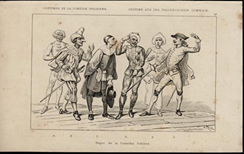 Italian Comedy Costumes Theater Swords Hats 1840 scarce antique Italy view -