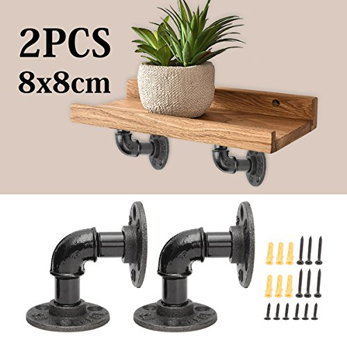Kingso 2Pcs 8X8cm Industrial Black Iron Pipe Shelf Bracket Wall Mounted Floating Shelf Hanging Wall Hardware Steampunk Decor For Custom Shelf Plumbing Pipe Shelf Restoration Hardware Shelf