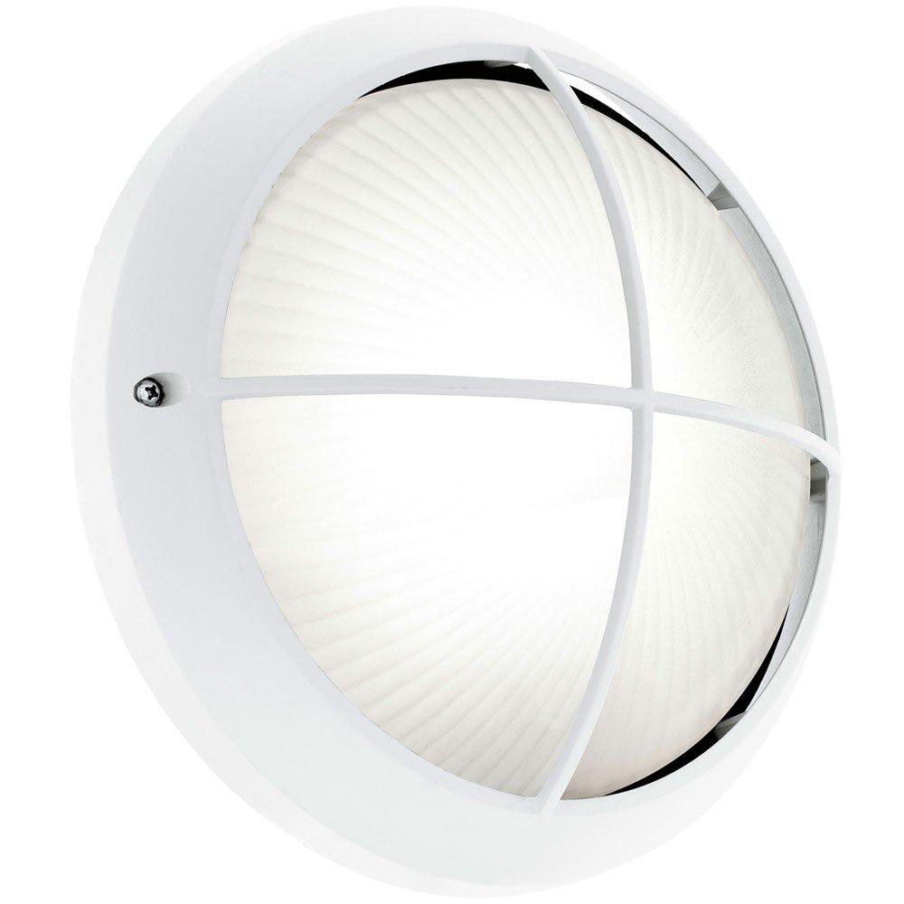 7 Watt LED Wand Leuchte Außen Strahler runde Fassaden Lampe Struktur Glas Eglo 78061
