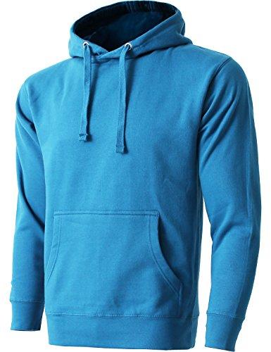 Mens Fleece Pullover Hoodie Heavyweight Sweatshirts 1HCA0009 (Large/1hca09_Turquoise) (Pullover Heavyweight Fleece)