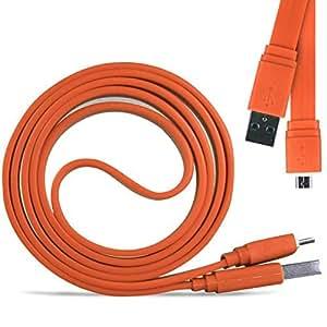 Direct-2-Your-Door - Nokia Lumia 635 Superfast 1 metro Micro transferencia USB Data Sync cable de carga plana - Orange