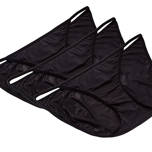OUGES Women's sleek String Bikini Panty(Black,3pcs/Pack)
