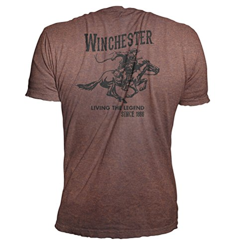 Official Winchester Men's Limited Edition Vintage Rider Graphic Short Sleeve T-shirt (XXL, Heathered Russet) ()