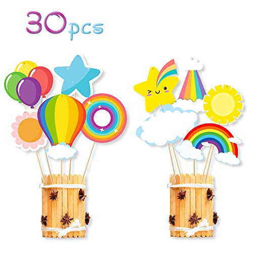 MALLMALL6 30Pcs Rainbow Centerpieces Sticks Birthday Party Decorations Colorful Rainbow Party Supplies Balloon Table Toppers Baby Shower Party Favors Room Décor Photo Booth Props for Kids Boys Girls (Centerpieces For Boy Birthday)