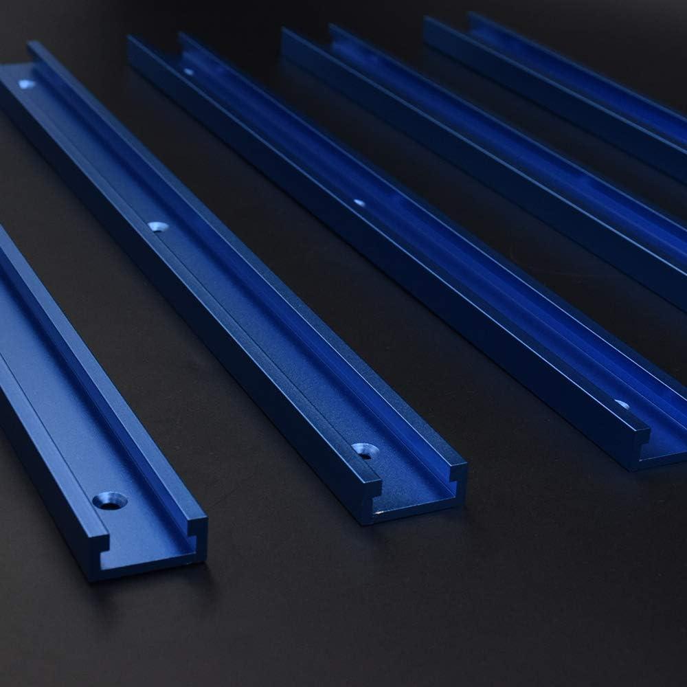Laecabv T-Slot Rail Mitre T-Slot T-Tracks Jig Outils Aluminium T-Tracks Mitre Jig Fixation Fente pour Travail du Bois Routeur De Travail Du Bois Type 30-600mm, Bleu - Chute
