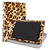All-New Amazon Fire HD 10 Case,LiuShan 360 Degree Rotation Stand PU Leather With Cute Pattern Cover for All-New Amazon Fire HD 10 Tablet (7th Generation, 2017 Release),Leopard Brown