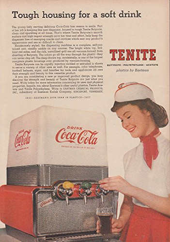 - Tough housing for a soft drink Coca-Cola Dispenser by Tenite ad 1957 NW