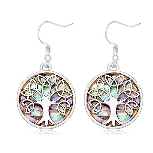 (MANZHEN Nature Abalone Paua Shell Tree Charm Dangle Earrings (silver 2))