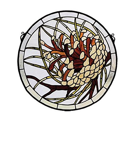Meyda Tiffany 30448 Pinecone Medallion Stained Glass Window, 17