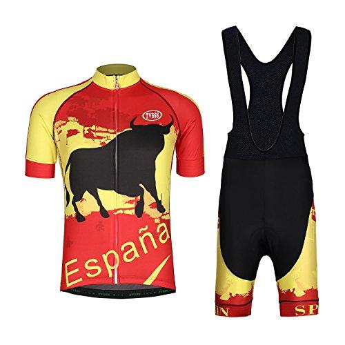 TVSSS Men's Cycling Jerseys Sets Flag Series MTB Suit 2017 New Design Cycling clothing Women's Summer Short Bib Set Brand Bicycle Specialized Clothes Bike (Spain & Black Bib Set, S)