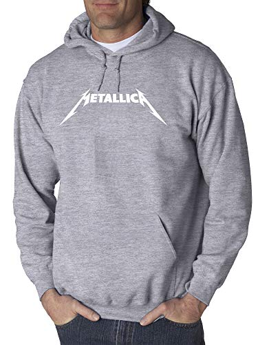 New Way 925 - Adult Hoodie Metallica Metal Rock Band Logo Unisex Pullover Sweatshirt Medium Heather Grey