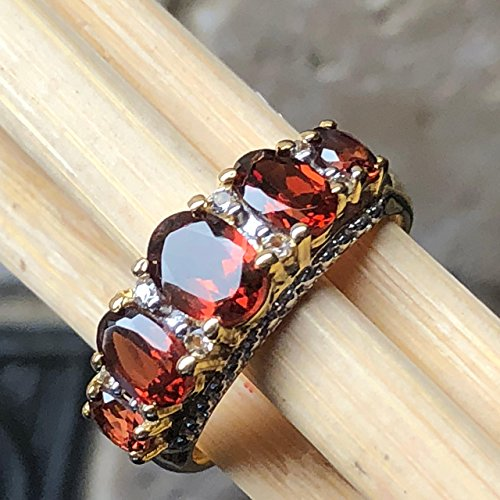 Natural 2.5 Pyrope Garnet 925 Solid Sterling Silver 5-Stone Ring sz 7