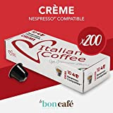 200 capsule Caffè ItalianCoffee compatibile Sistema Nespresso* (10 cps. X 20 confezioni) (Crema)