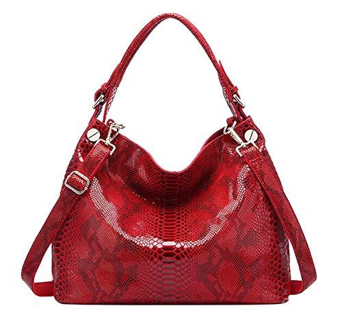 FairyBridal Genuine Leather Snakeskin Hobo Bags for Women Large Tote Luxury Top-Handle Handbag Shoulder Satchel Purse Red