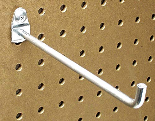 (Steel Single Rod Pegboard Hook, Screw In Mounting Type, Silver, Finish: Bright Zinc)
